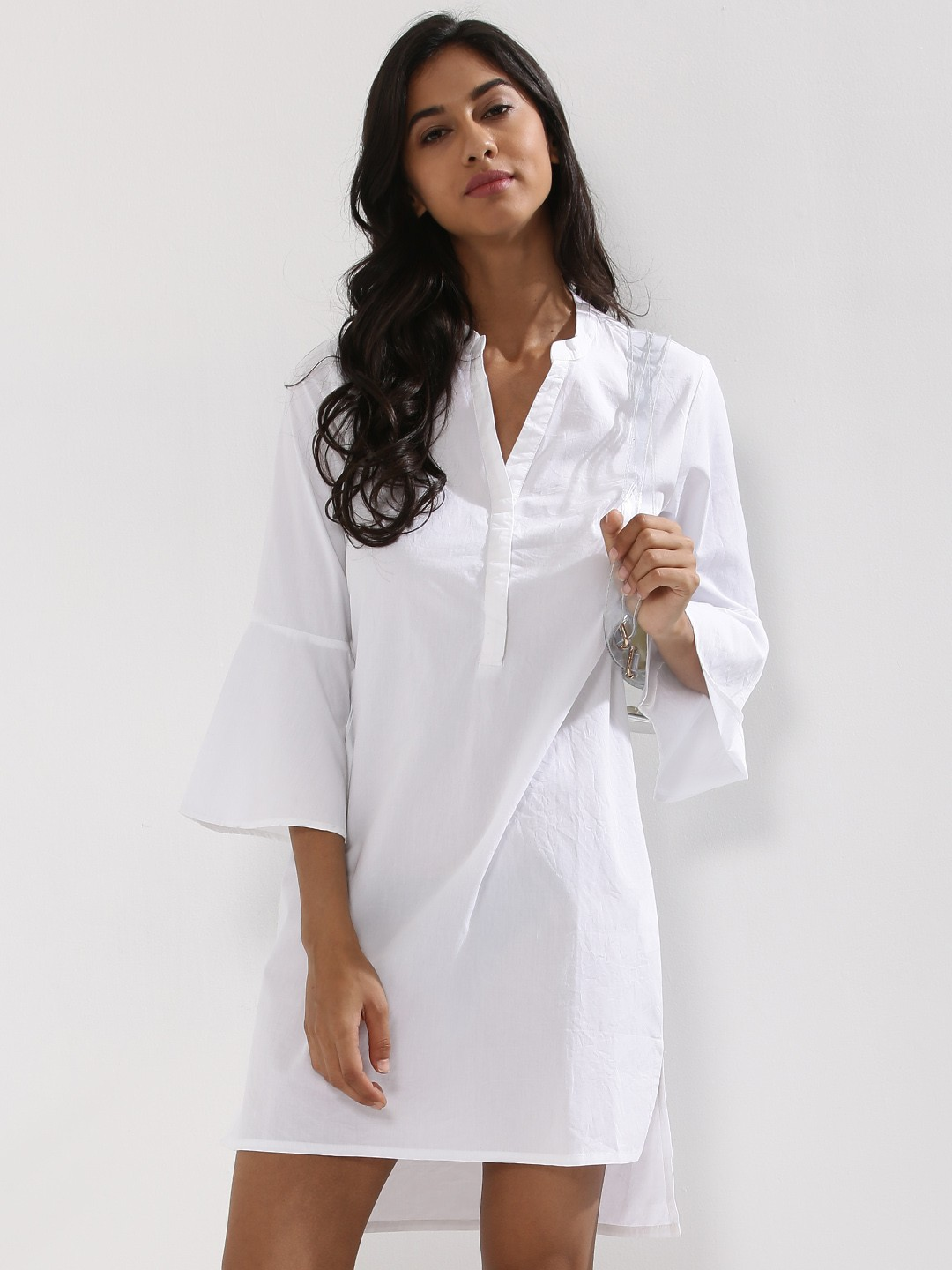 Buy koovs fluted sleeve shirt dress for women women 39 s for Buy white dress shirt