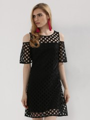 ORIGAMI LILY  Perforated Mesh Cold Shoulder Dress