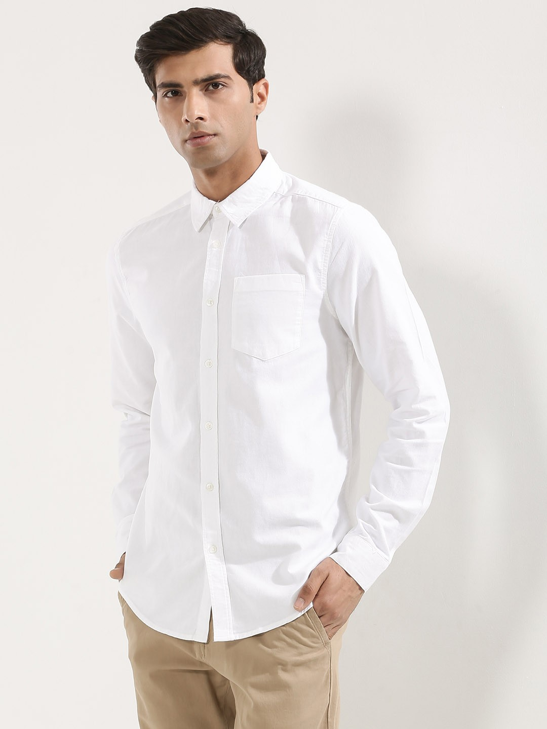 Buy new look brushed twill shirt for men men 39 s white for Brushed cotton twill shirt