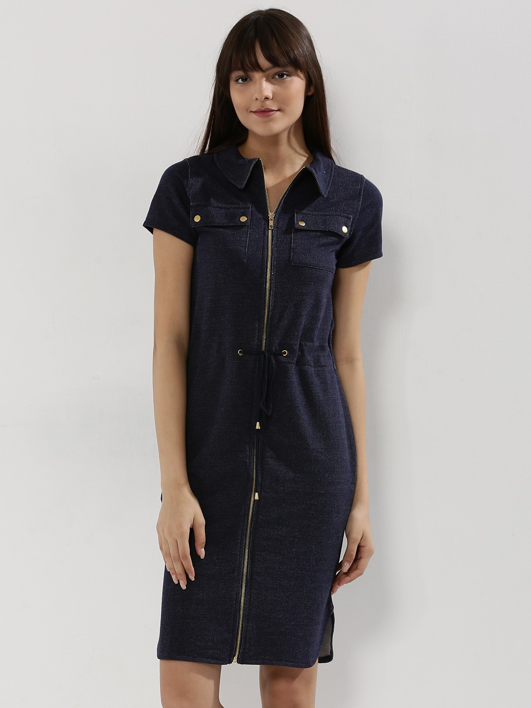 Buy koovs stretch denim zip through shirt dress for women for Zip up dress shirt