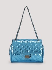 KOOVS  Quilted Flap Crossbodyy With Chain Handle