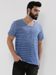 KOOVS  Faded Striped T-Shirt In The Style Of Louis Tomlinson