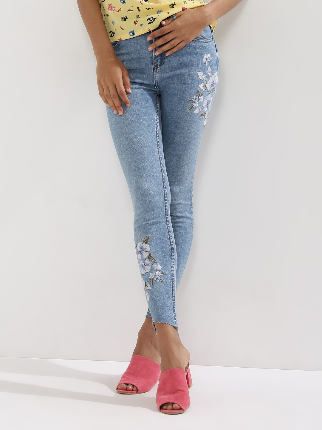 Buy NEW LOOK Embroidered Skinny Jeans For Women - Women's Blue ...