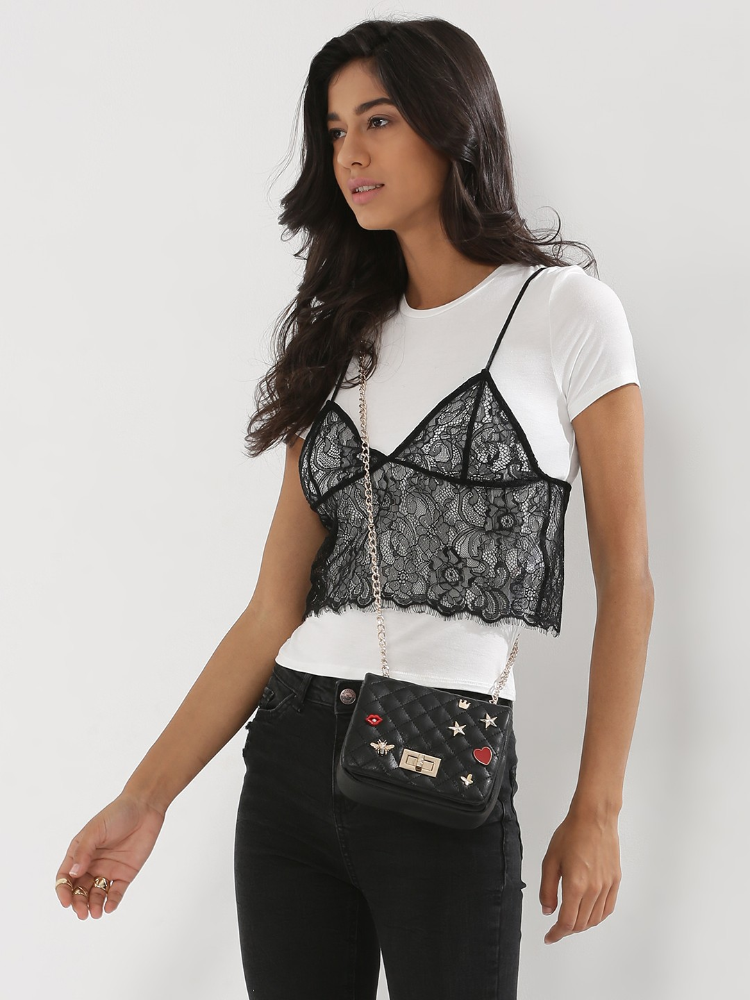 Black t shirt with lace - New Look Bralet Lace 2 In 1 T Shirt