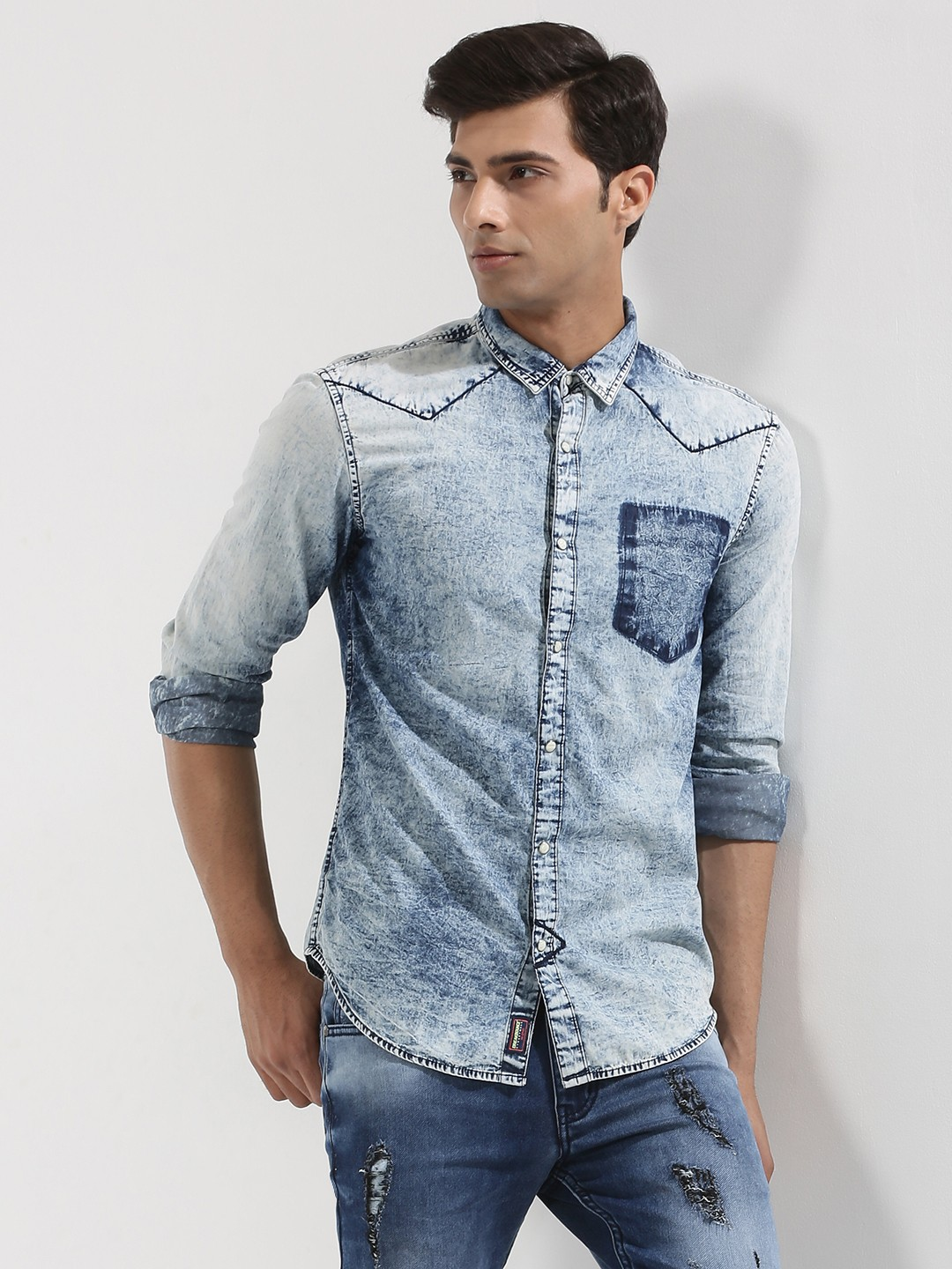 Buy Breakbounce Washed Denim Shirt With Contrast Pocket