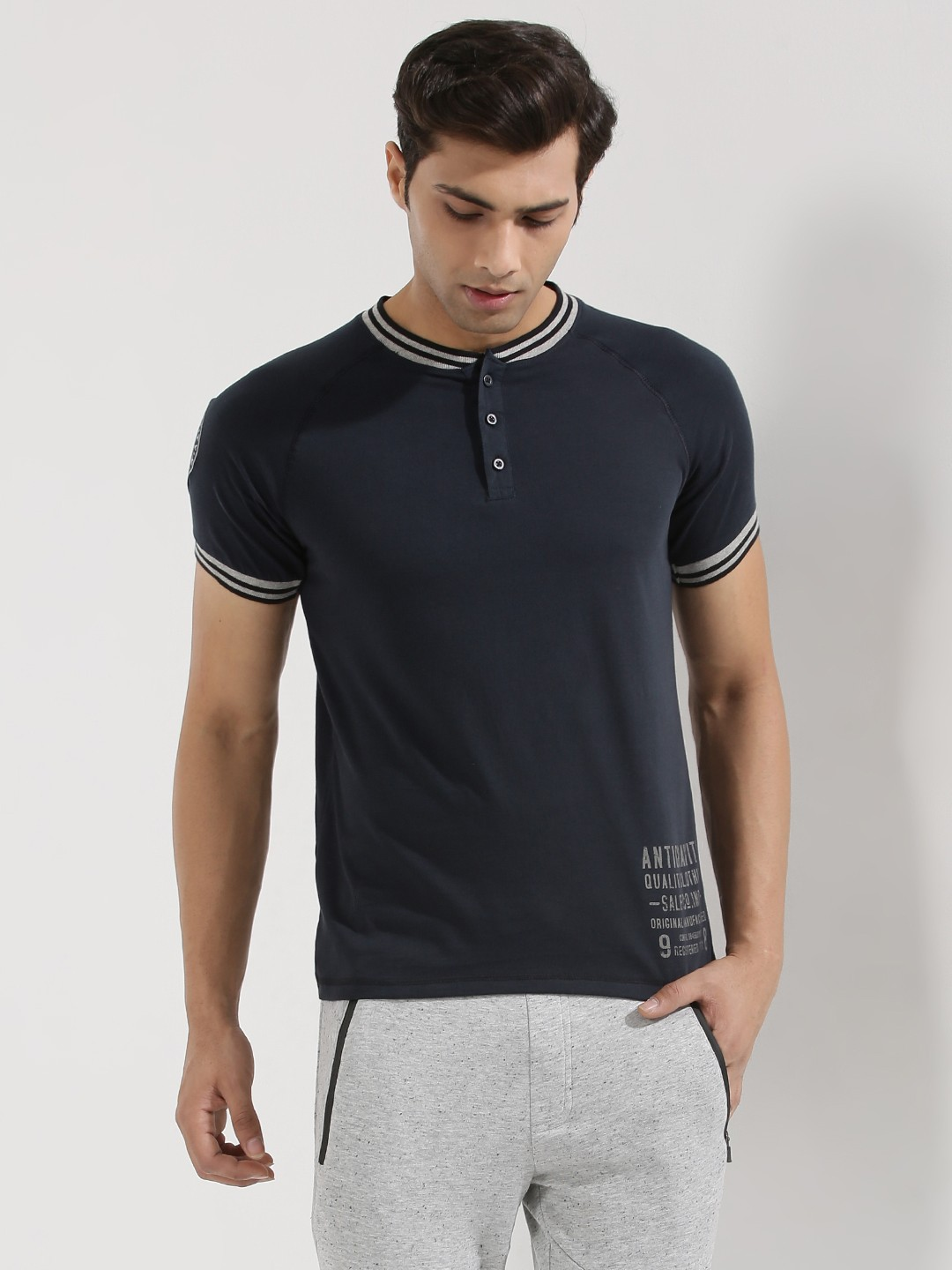 Buy antigravity tipped collar sleeve henley for men for Mens collared henley shirt
