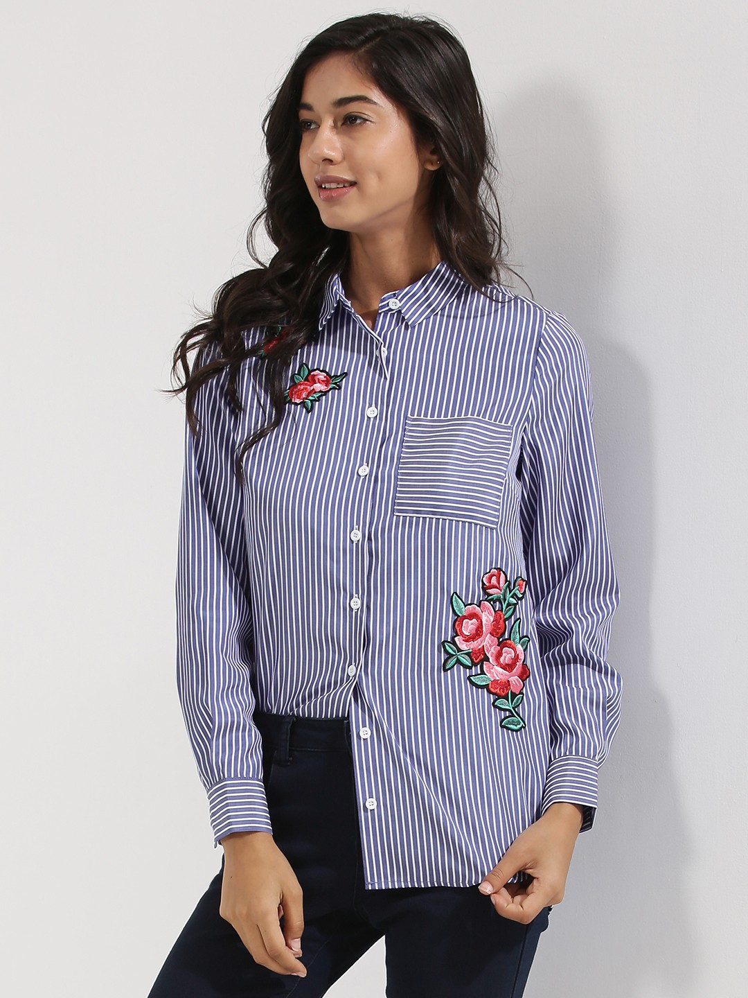 Buy NEW LOOK Rose Badge Stripe Shirt For Women - Women's Multi ...