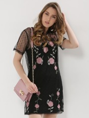 NEW LOOK  Go Embroidered Dobby Mesh Dress
