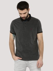 SIN  Melange Polo Shirt With Solid Collar - 91861_2_6476