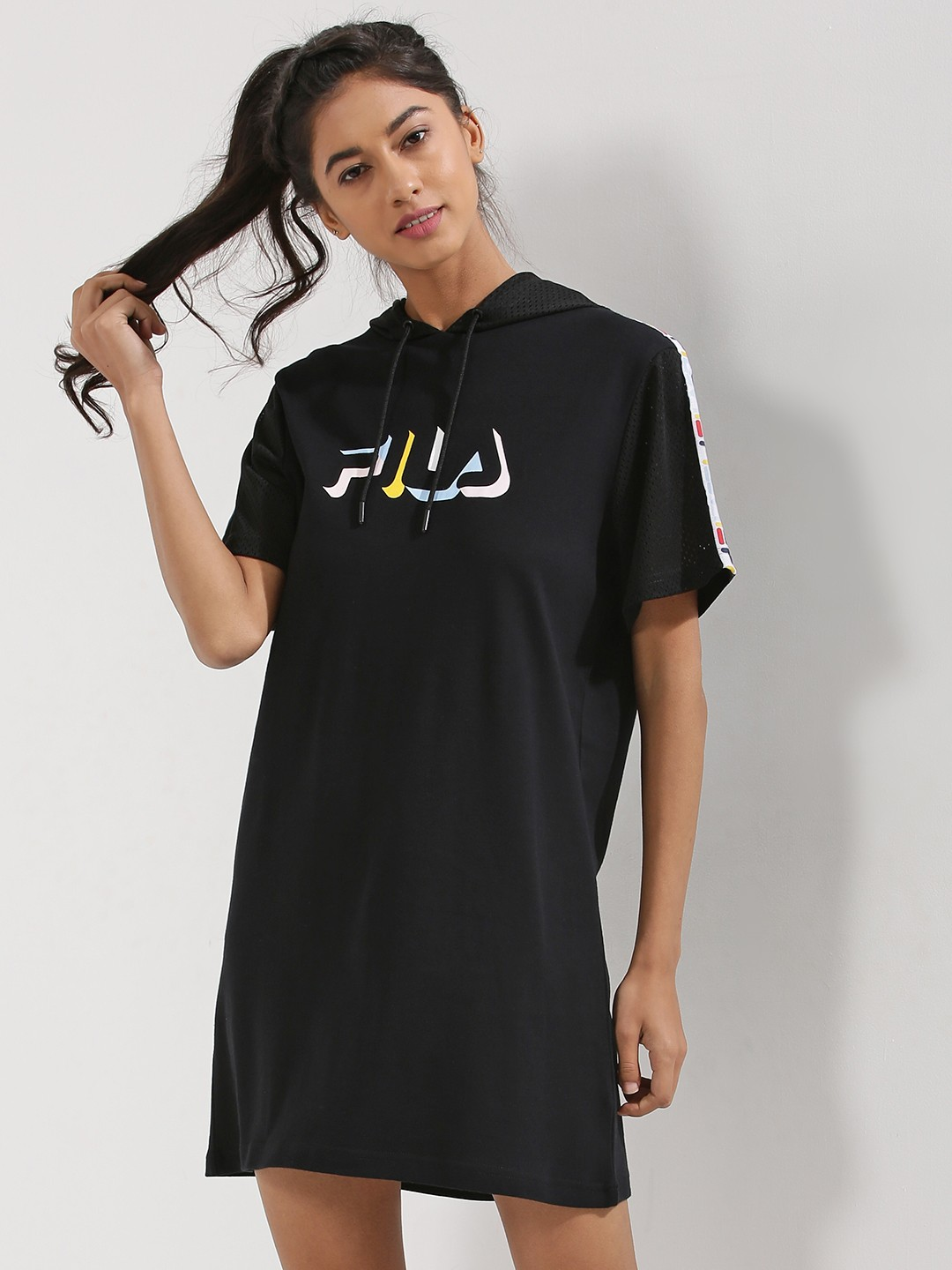 buy fila black mesh sleeve hooded t shirt dress for women women 39 s black tunic dresses online. Black Bedroom Furniture Sets. Home Design Ideas
