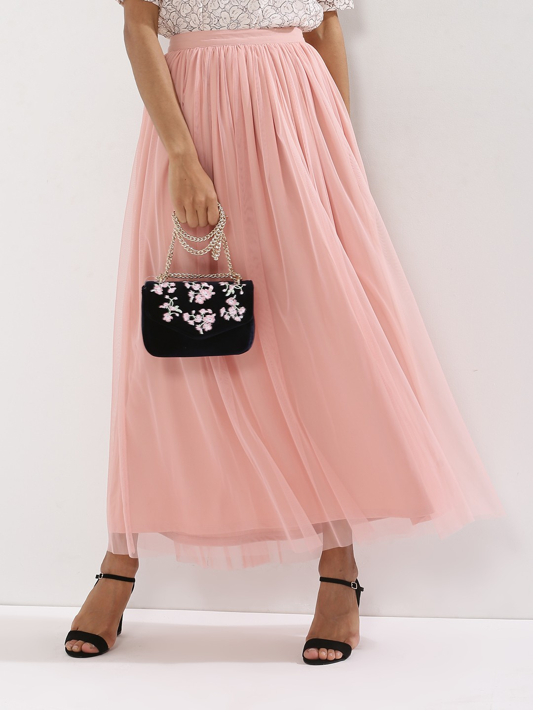 Buy FEMELLA Tulle Maxi Skirt For Women - Women's Pink Maxi Skirts ...