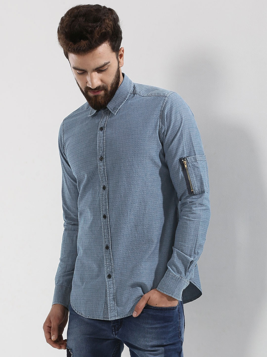 Buy Ruse Denim Shirt With Side Zipper Sleeve Pocket For