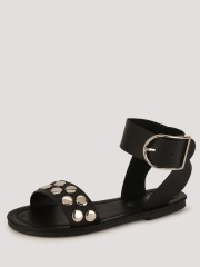 TRUFFLE COLLECTION  Studded Flat Sandals With Big Buckle