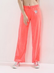 SOUTH BEACH  Eliza-nectarine Velour Track Pants With Embroidery Logo Detail