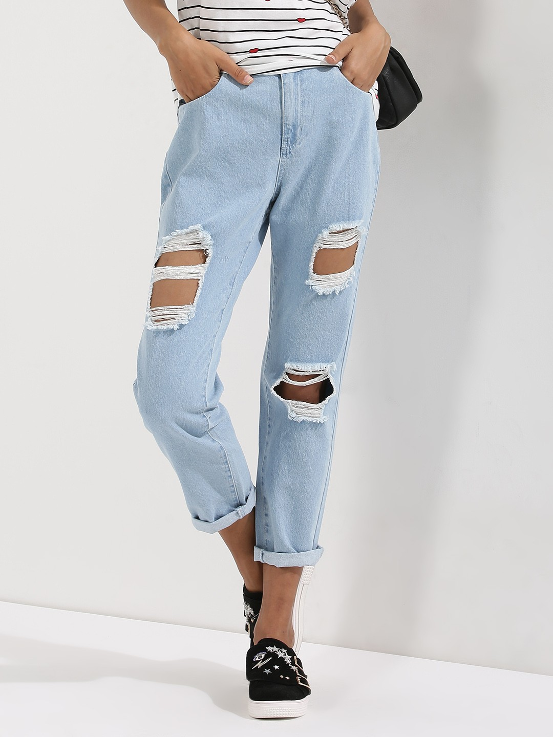 Buy VERO MODA Busted Boyfriend Jeans For Women - Women's Blue ...