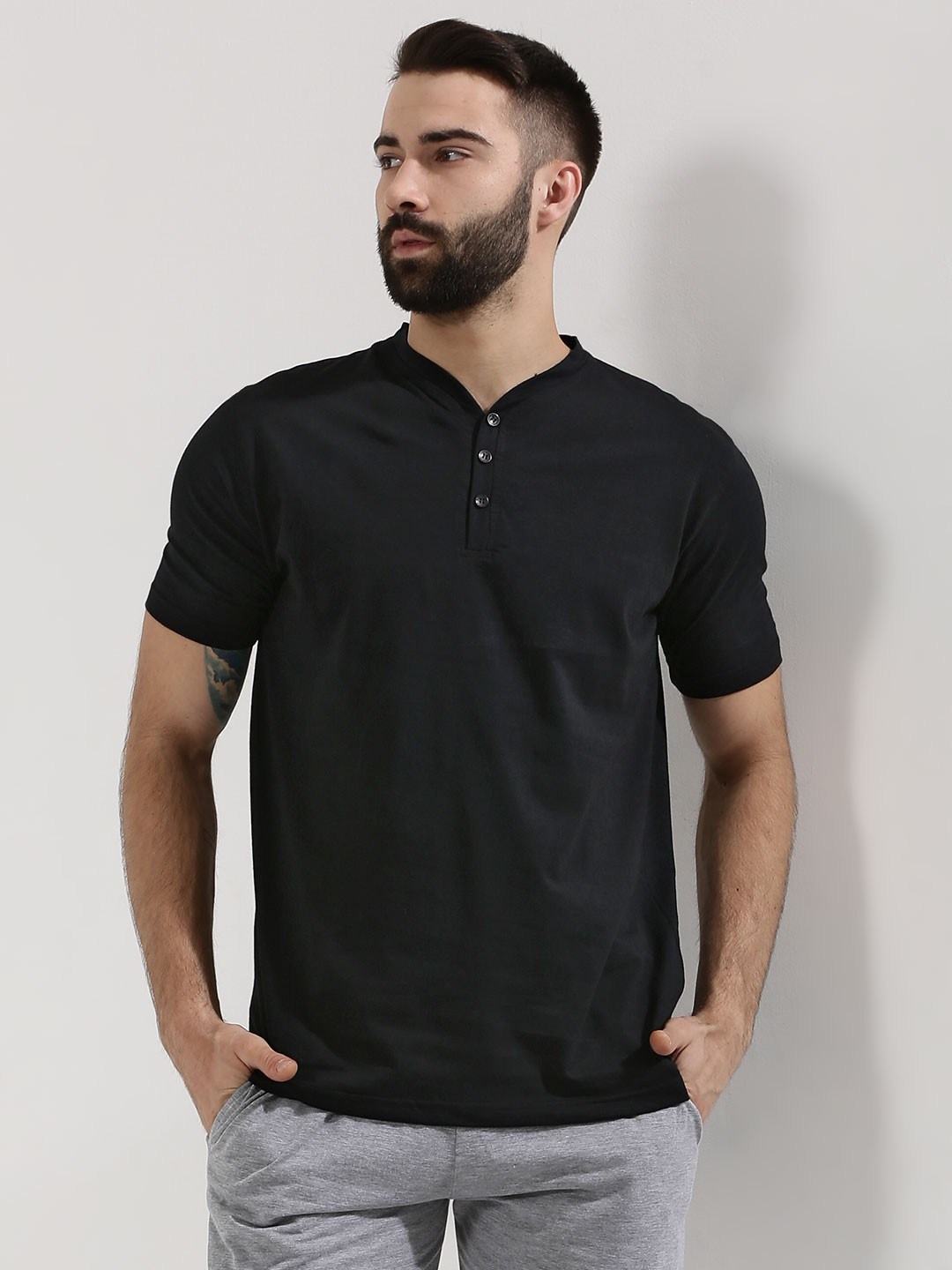 Buy Blotch Henley T Shirt For Men Men 39 S Black T Shirts