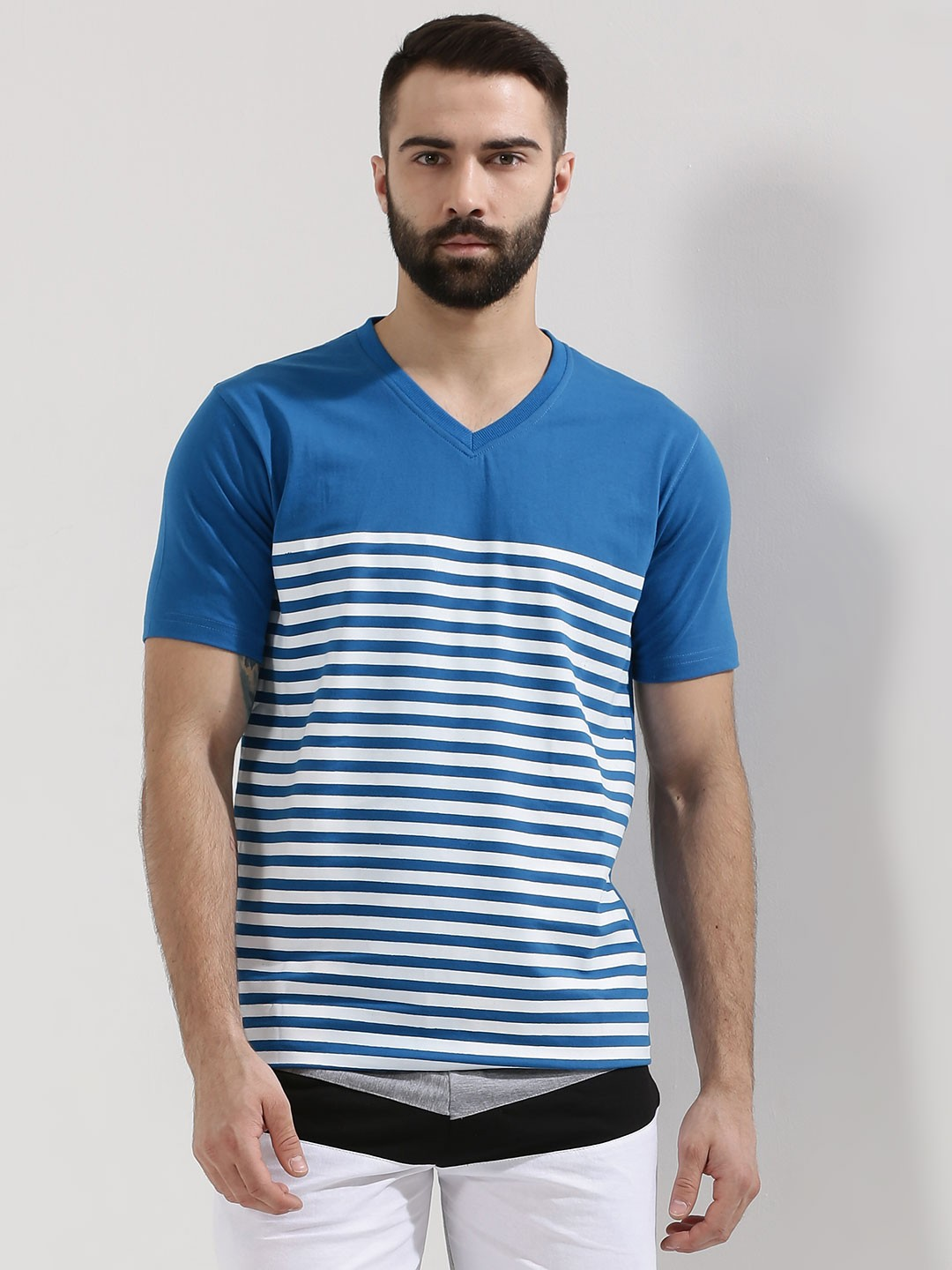 Mens Striped V Neck T Shirt