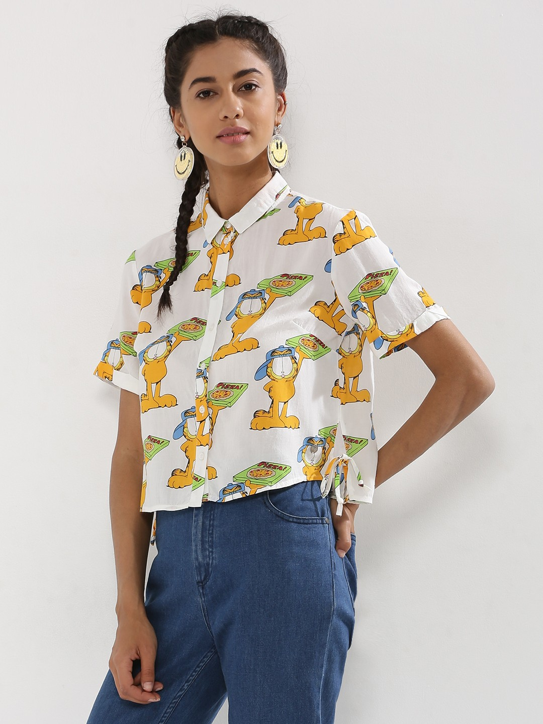 ... Garfield Crop Shirt For Women - Women's Multi Shirts Online in India