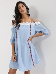 BEYOND CLOUDS  Embroidered Cold Shoulder Swing Dress