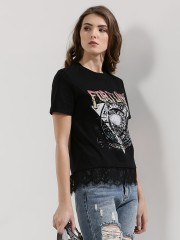 NOBODY'S CHILD  Printed T-Shirt With Lace Hem