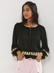 KISS COAST  Bell Sleeve Top With Trim Detail