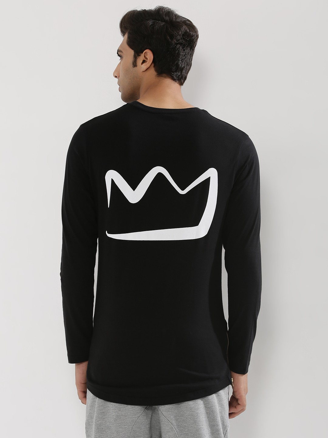 Black t shirt with print - Kindred Back Print T Shirt With Side Zip