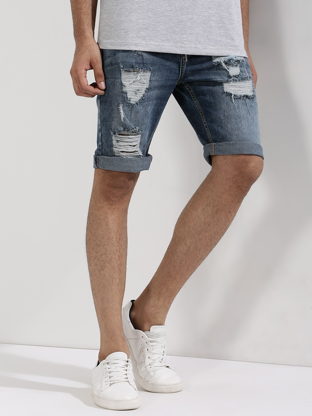 Buy ADAMO LONDON Heavy Distress Denim Shorts For Men - Men's Blue ...