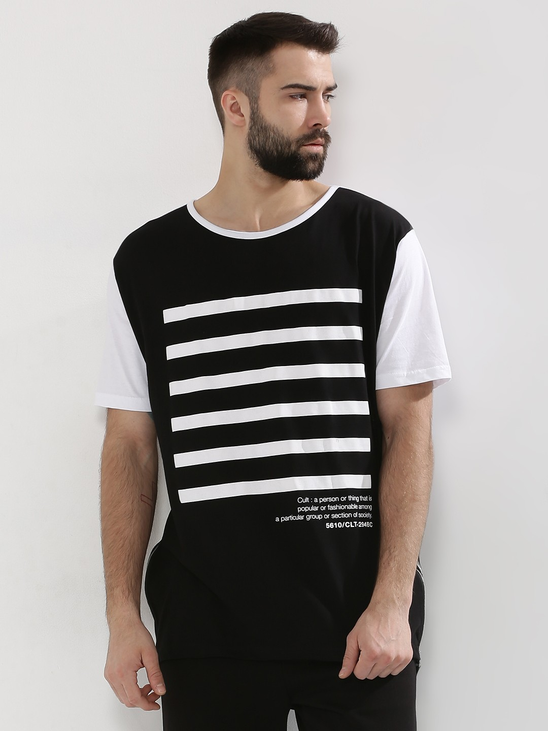 Black t shirt with white stripes - Adamo London Cult Back Print Cut Sew T Shirt With Contrast Stripes