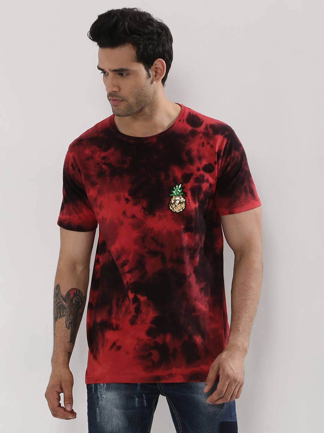 Buy adamo london tie dye t shirt with sequin patch for men for How to dye a shirt red
