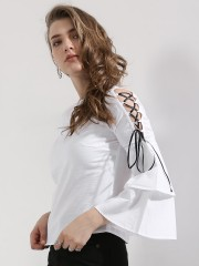 RIDRESS  Double Layer Tie Up Sleeve Top