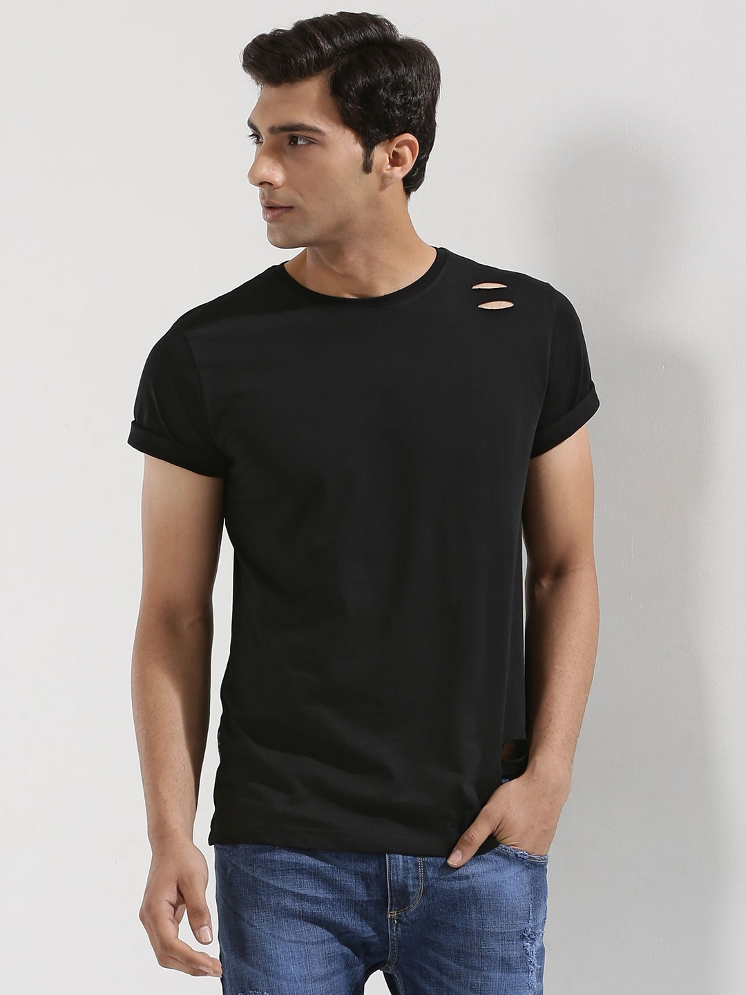 Black t shirt mens - Blue Saint Ripped T Shirt