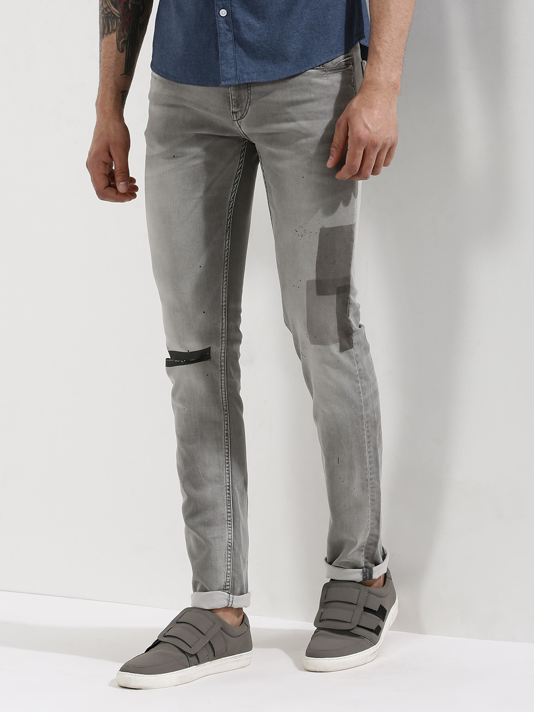 ... With Patches For Men - Men's Black/Grey Skinny Jeans Online in India