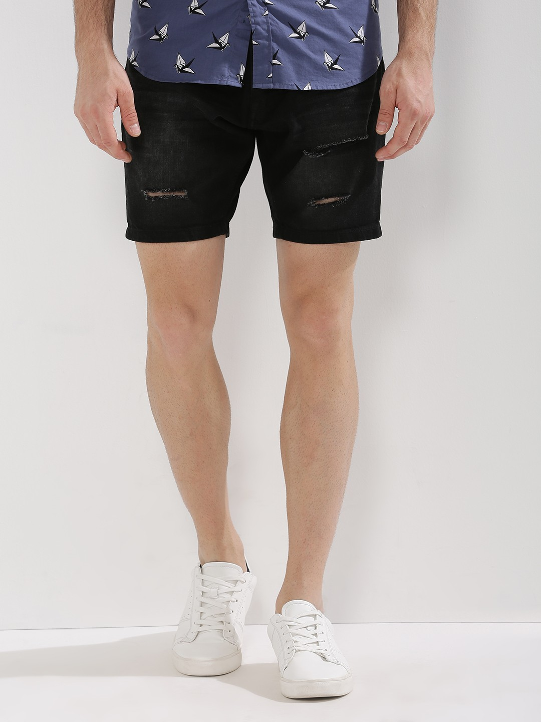 Buy BRAVE SOUL Ripped Denim Shorts For Men - Men's Black Shorts ...