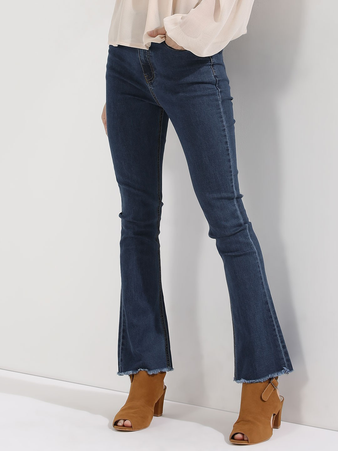 Buy MOMOKROM Cropped Hem High Rise Flare Jeans For Women - Women's ...