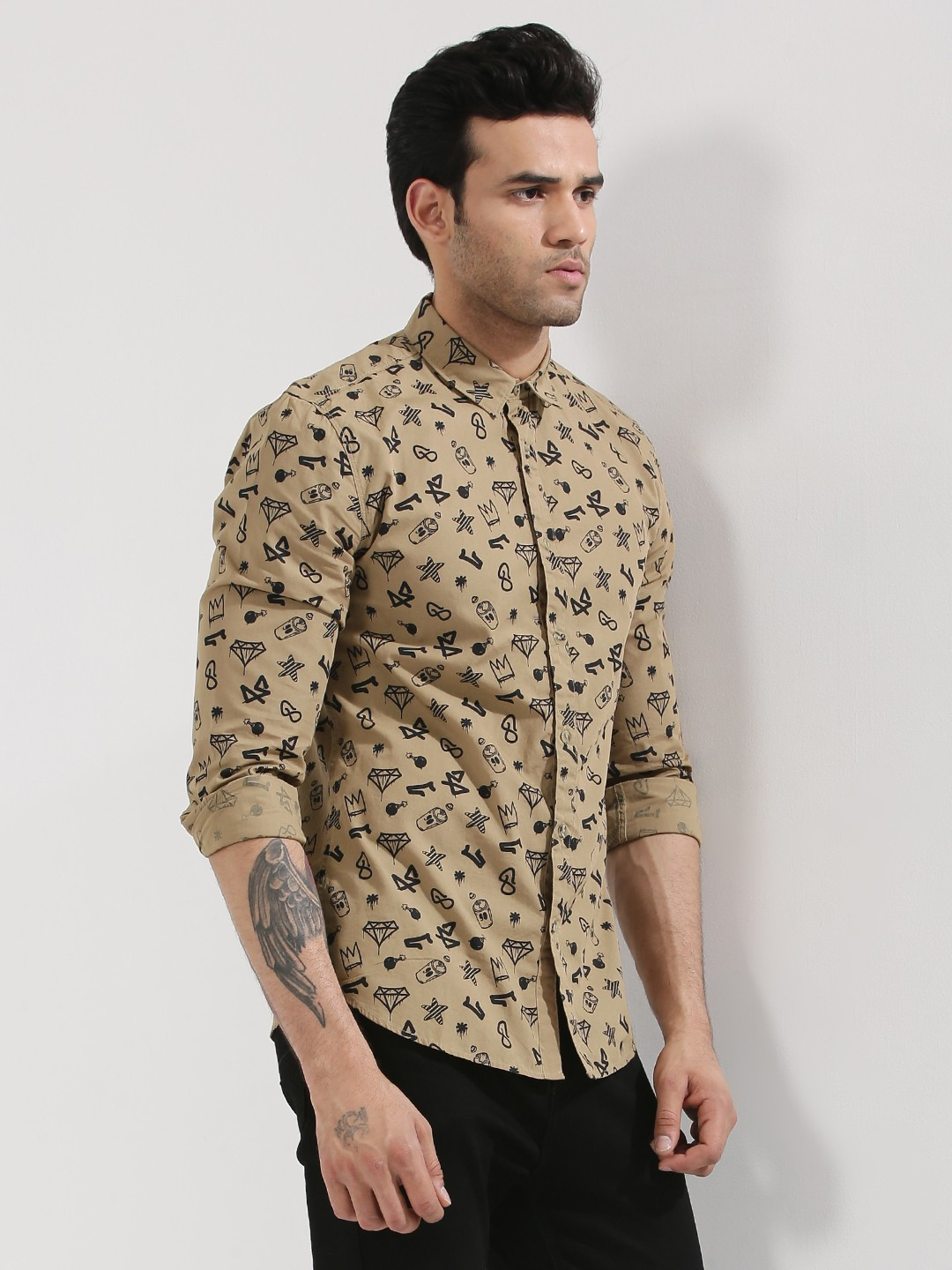Buy jack jones printed shirt for men men 39 s green for Where to buy casual dress shirts