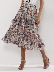 CLOSET DRAMA  Floral Midi Skirt With Frill Detail