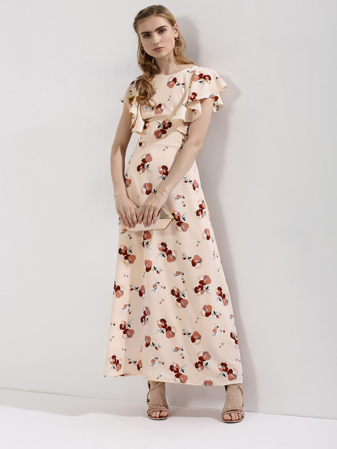 Buy OLIV Floral Print Maxi Dress With Ruffle Sleeves For Women ...