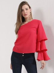 OLIV  One Shoulder Ruffle Sleeves Top