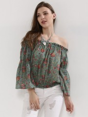 RENA LOVE  Bardot With Fit & Flare Sleeve Top