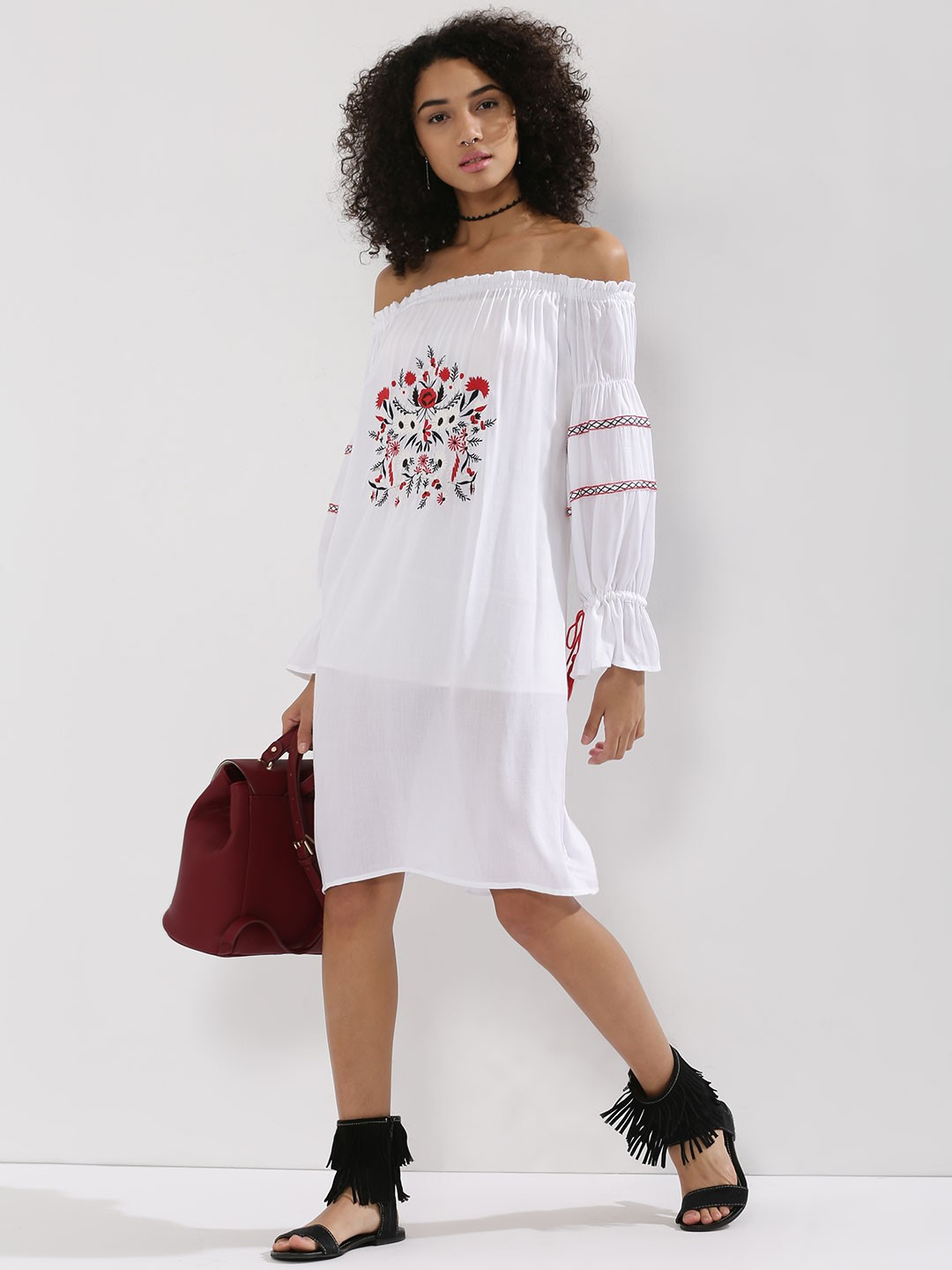 Buy Rena Love Floral Print Peplum Top For Women: Buy RENA LOVE Cuffed Sleeve Midi Dress With Embroidery For