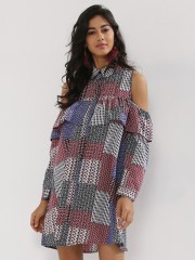 INFLUENCE  Multi Ruffle Cold Shoulder Dress