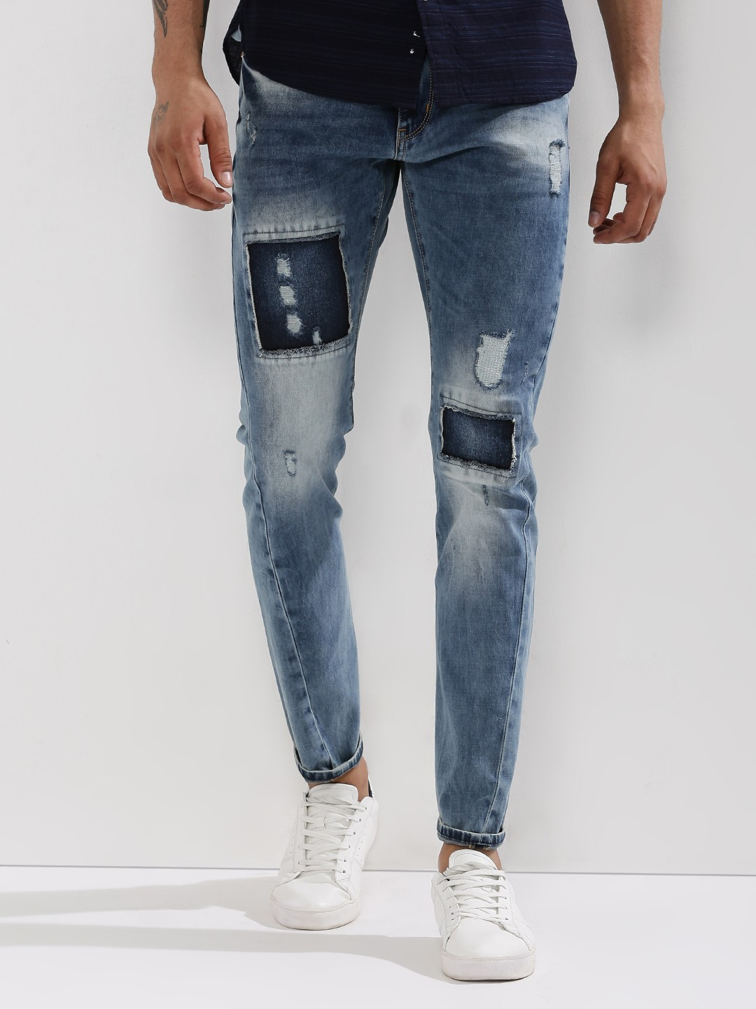 Buy BOLT OF THE GOOD STUFF Patchwork Carrot Jeans In Mid Wash For ...
