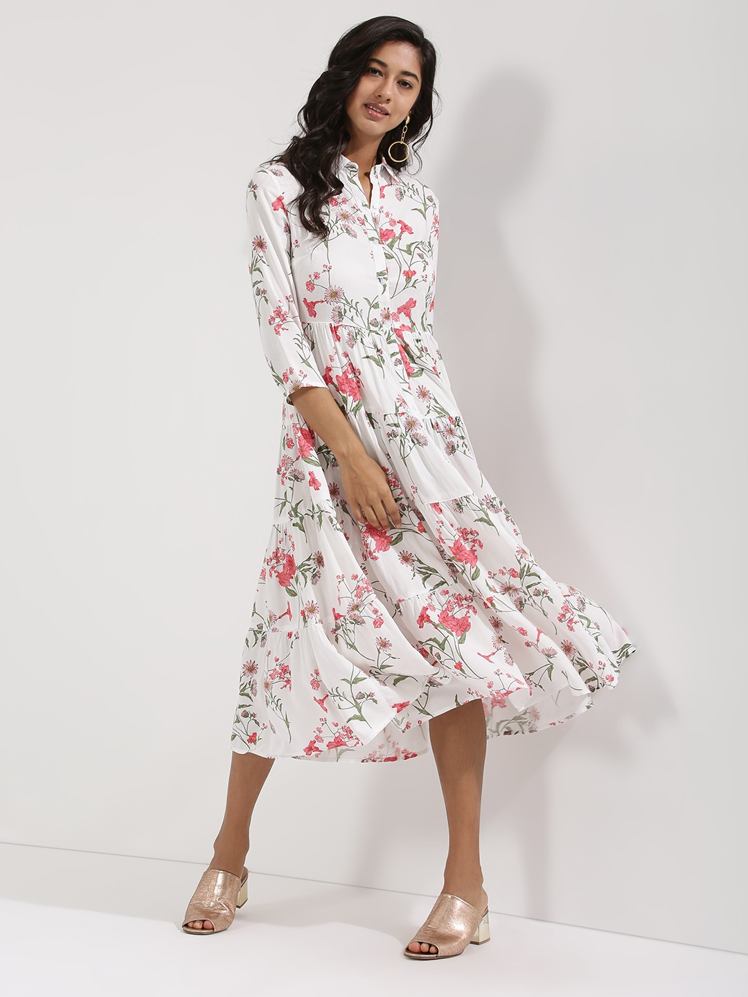 Buy femella printed tier shirt dress for women women 39 s for Buy white dress shirt