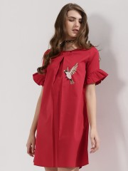 EVAH LONDON  Shift Dress With Bird Embroidery