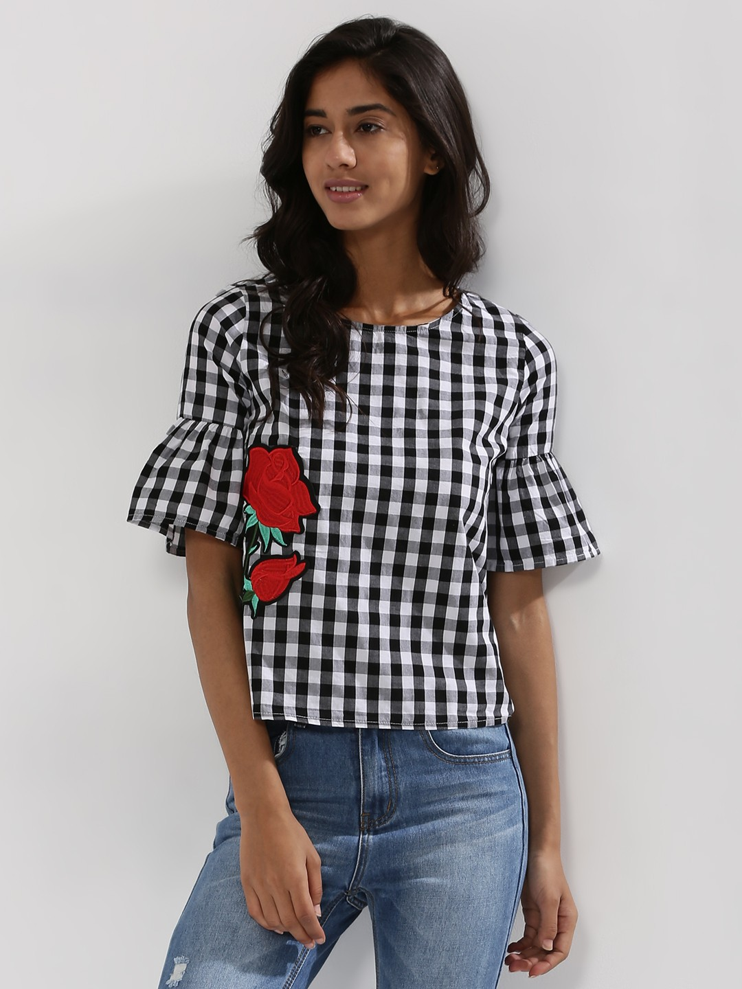 EVAH LONDON Gingham Bell Sleeve Top With Patch Detail thumbnail