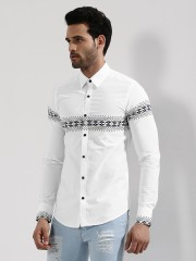 RUSE  Printed Panel Shirt With Contrast Buttons