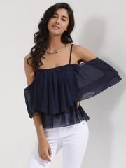 ONLY  Off Shoulder Ruffle Top With Noodle Straps