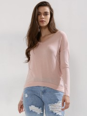 PINK WOMAN  Solid V Neck Top