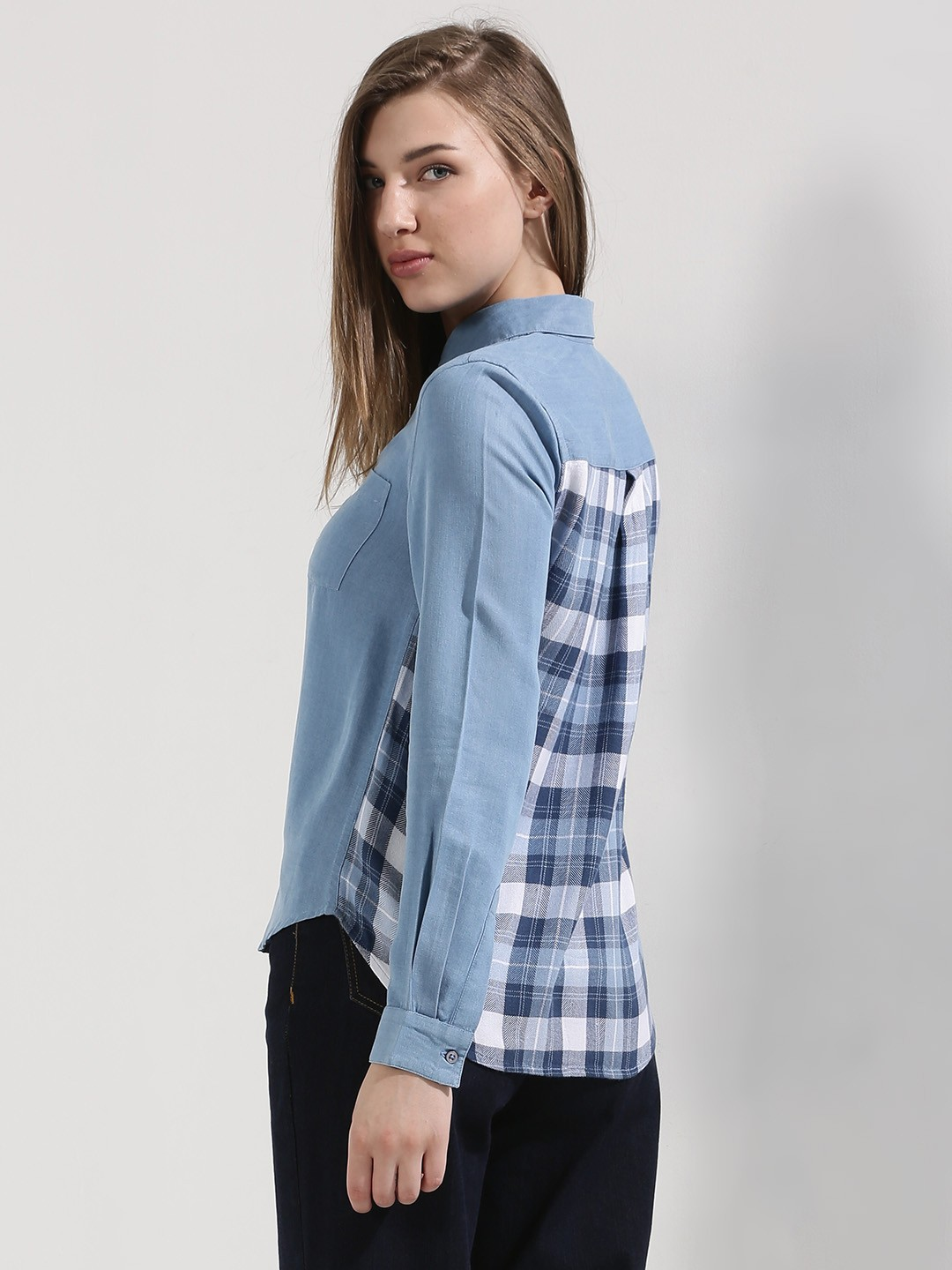 Buy postfold plaid back panel shirt for women women 39 s for Buy plaid shirts online