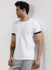 MR BUTTON  Henley T-Shirt With Contrast Eyelet Sleeves